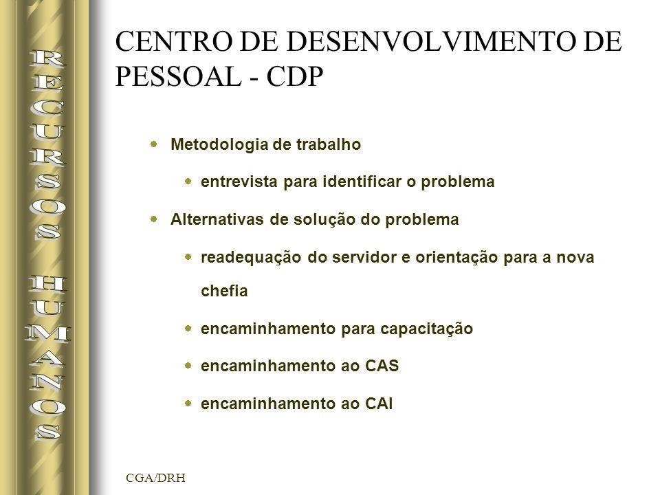 CGA/DRH CENTRO DE DESENVOLVIMENTO DE PESSOAL - CDP Metodologia de trabalho entrevista para identificar o problema Alternativas de solução do problema readequação do servidor e orientação para a nova chefia encaminhamento para capacitação encaminhamento ao CAS encaminhamento ao CAI