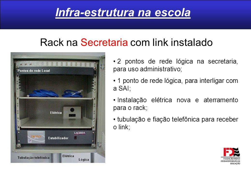 Infra-estrutura na escola Rack na Secretaria com link instalado 2 pontos de rede lógica na secretaria, para uso administrativo; 1 ponto de rede lógica