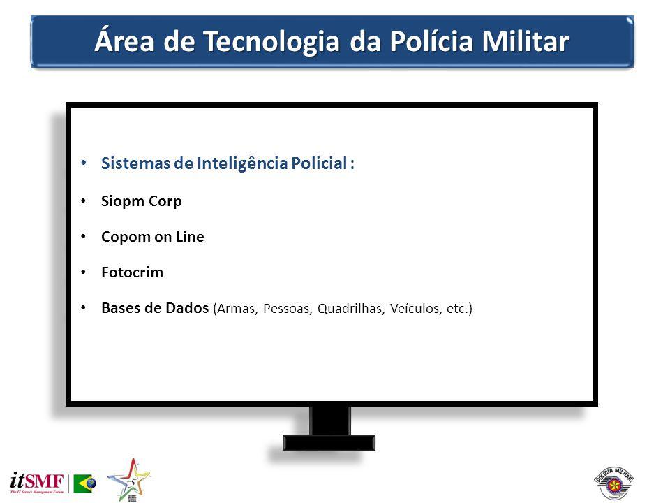 Área de Tecnologia da Polícia Militar Sistemas de Inteligência Policial : Siopm Corp Copom on Line Fotocrim Bases de Dados (Armas, Pessoas, Quadrilhas