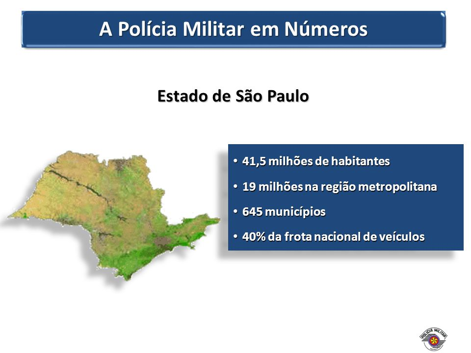 Quadro de pessoal : 93.068 policiais militares 545 unidades operacionais 2.245 instalações físicas Frota : 13.998 veículos 18 aeronaves 85 embarcações Presença : 645 municípios Orçamento anual : R$ 7 bilhões (US$ 3,03 bilhões) A Polícia Militar em Números