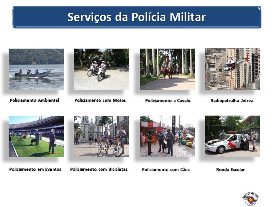 Serviços da Polícia Militar Policiamento Ambiental Policiamento em Eventos Policiamento com Motos Policiamento com Bicicletas Radiopatrulha Aérea Rond
