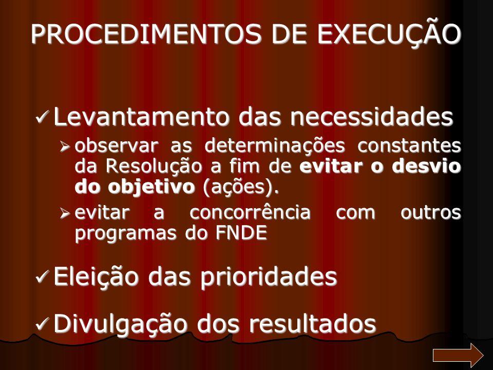 PROCEDIMENTOS DE EXECUÇÃO Levantamento das necessidades Levantamento das necessidades observar as determinações constantes da Resolução a fim de evita