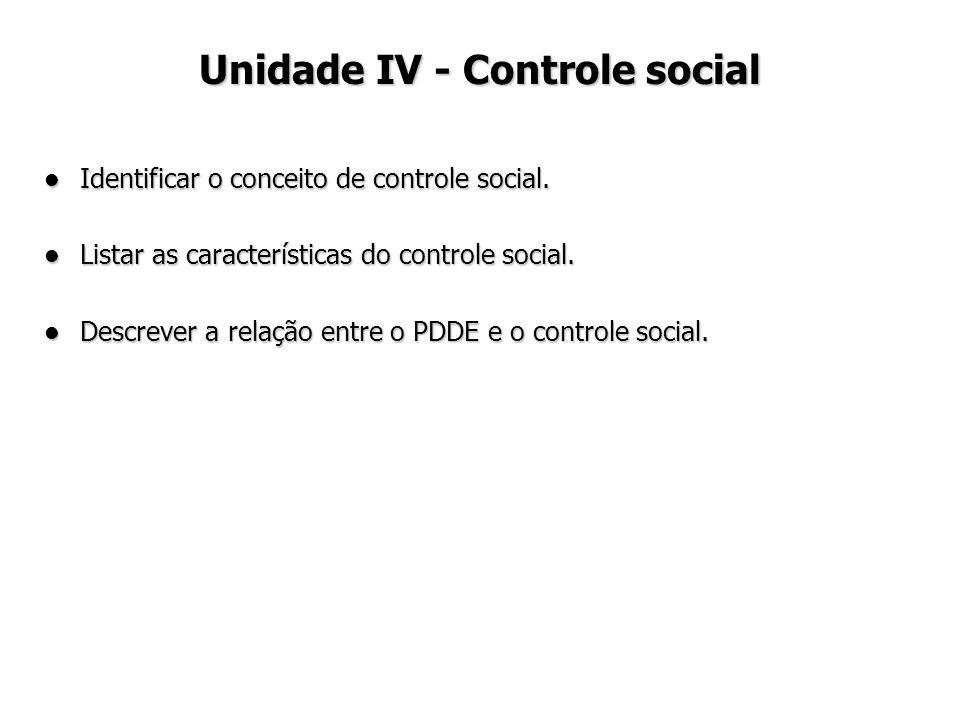Identificar o conceito de controle social. Identificar o conceito de controle social. Listar as características do controle social. Listar as caracter