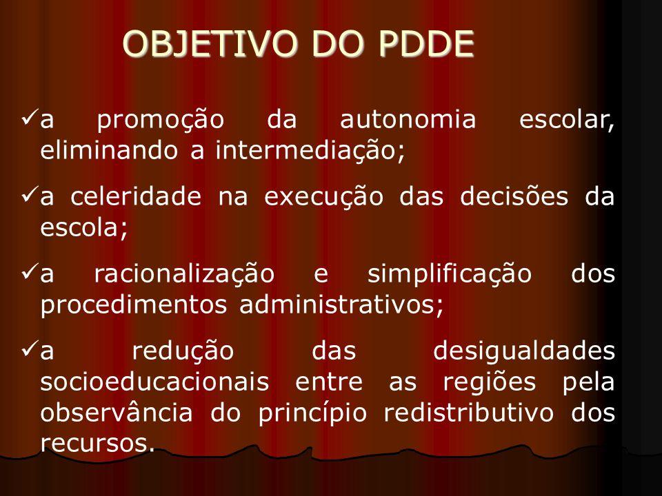 OBJETIVO DO PDDE a promoção da autonomia escolar, eliminando a intermediação; a celeridade na execução das decisões da escola; a racionalização e simp
