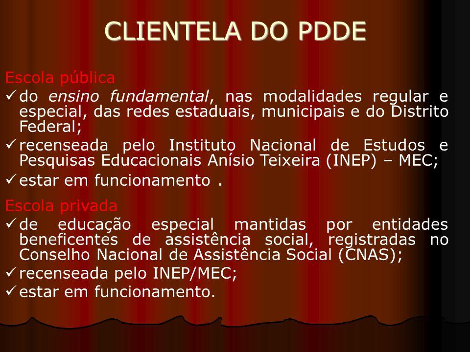 CLIENTELA DO PDDE Escola pública do ensino fundamental, nas modalidades regular e especial, das redes estaduais, municipais e do Distrito Federal; rec