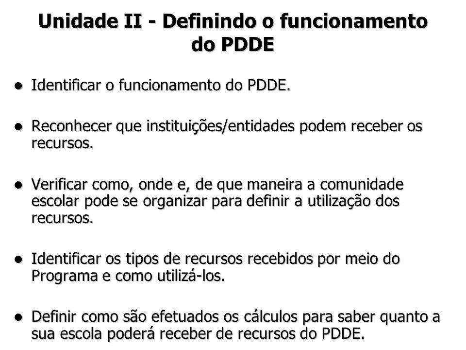 Identificar o funcionamento do PDDE. Identificar o funcionamento do PDDE. Reconhecer que instituições/entidades podem receber os recursos. Reconhecer