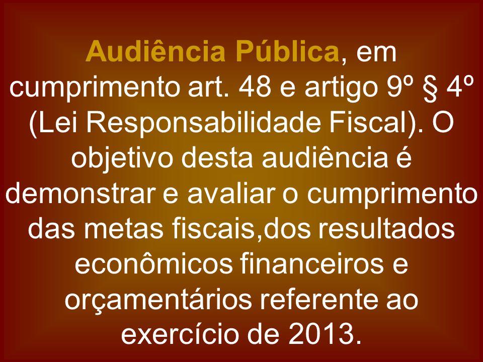 Audiência Pública, em cumprimento art. 48 e artigo 9º § 4º (Lei Responsabilidade Fiscal). O objetivo desta audiência é demonstrar e avaliar o cumprime