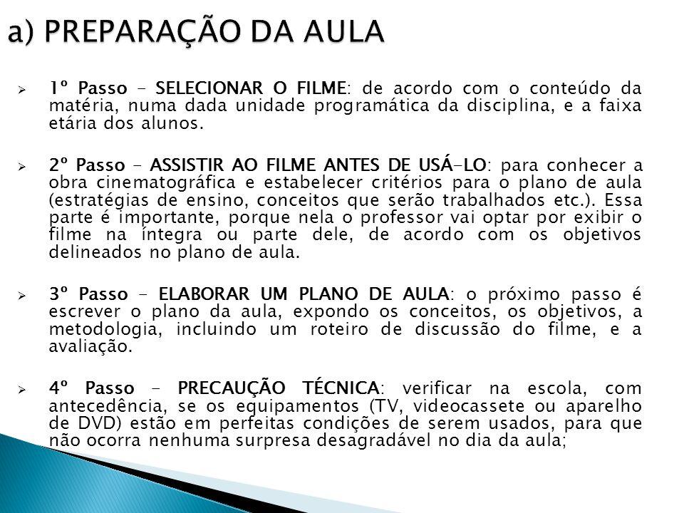 1º Passo – SELECIONAR O FILME: de acordo com o conteúdo da matéria, numa dada unidade programática da disciplina, e a faixa etária dos alunos.
