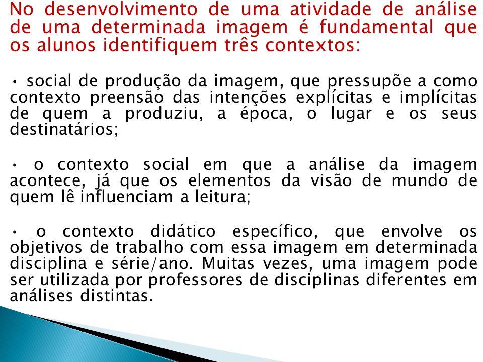 No desenvolvimento de uma atividade de análise de uma determinada imagem é fundamental que os alunos identifiquem três contextos: social de produção d