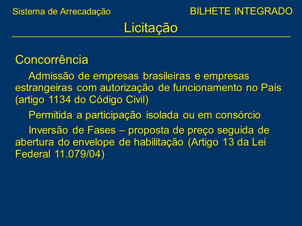 Concorrência Admissão de empresas brasileiras e empresas estrangeiras com autorização de funcionamento no País (artigo 1134 do Código Civil) Permitida