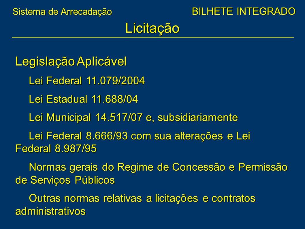 Legislação Aplicável Lei Federal 11.079/2004 Lei Estadual 11.688/04 Lei Municipal 14.517/07 e, subsidiariamente Lei Federal 8.666/93 com sua alteraçõe