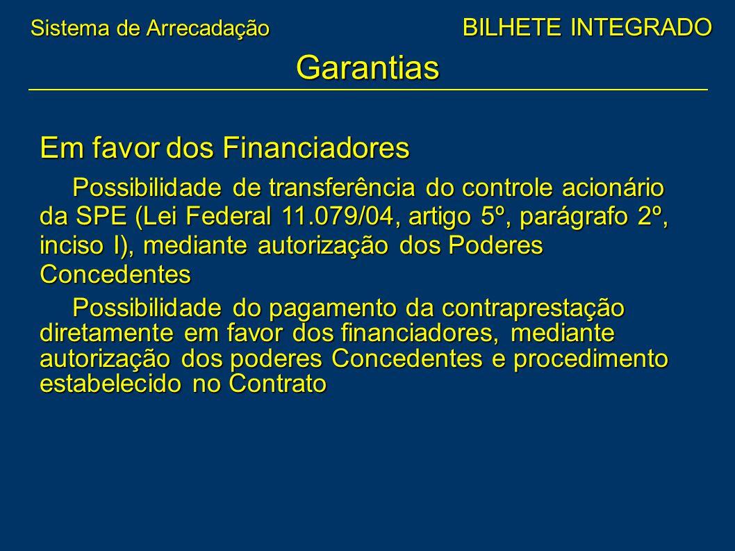 Em favor dos Financiadores Possibilidade de transferência do controle acionário da SPE (Lei Federal 11.079/04, artigo 5º, parágrafo 2º, inciso I), med
