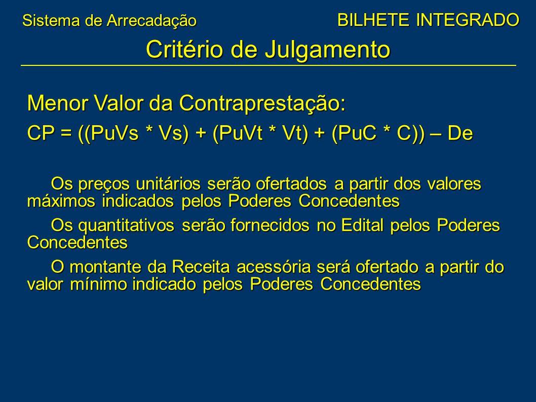 Menor Valor da Contraprestação: CP = ((PuVs * Vs) + (PuVt * Vt) + (PuC * C)) – De Os preços unitários serão ofertados a partir dos valores máximos ind