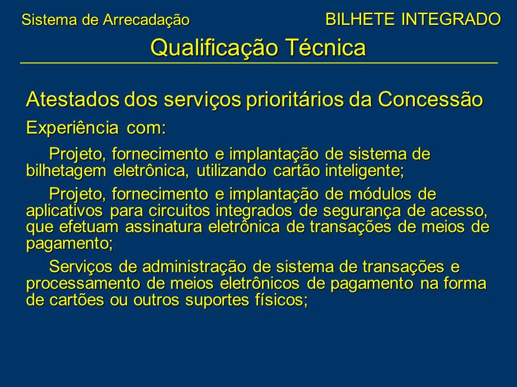 Atestados dos serviços prioritários da Concessão Experiência com: Projeto, fornecimento e implantação de sistema de bilhetagem eletrônica, utilizando
