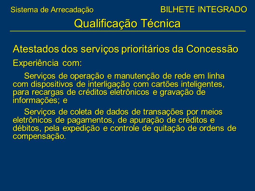 Atestados dos serviços prioritários da Concessão Experiência com: Serviços de operação e manutenção de rede em linha com dispositivos de interligação