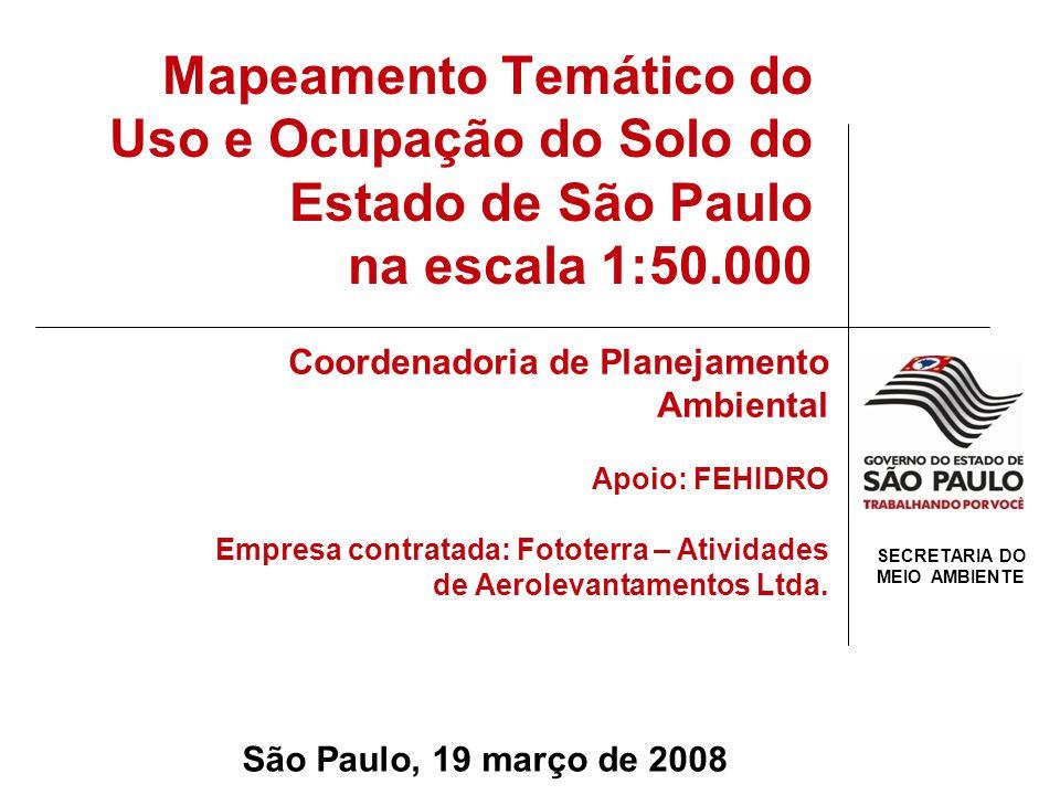 Estado de São Paulo Aproximadamente 248.600 km 2 645 municípios 03 Regiões Metropolitanas 41 milhões de habitantes Diversificação do uso e ocupação do solo Último Trabalho: Carta de Utilização da Terra.
