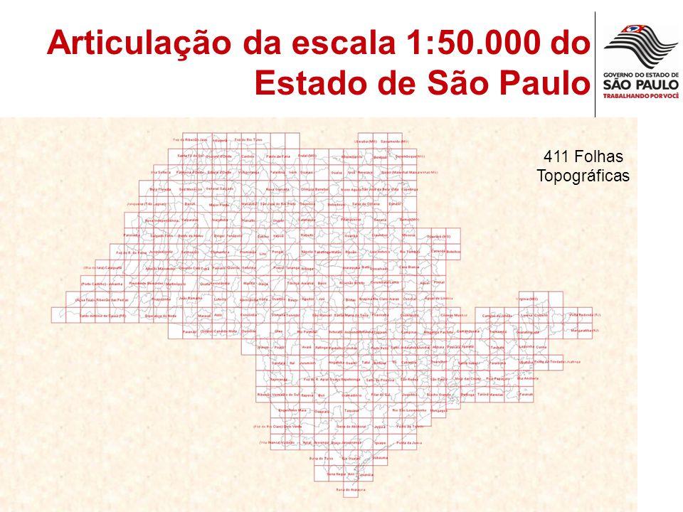Articulação da escala 1:50.000 do Estado de São Paulo 411 Folhas Topográficas