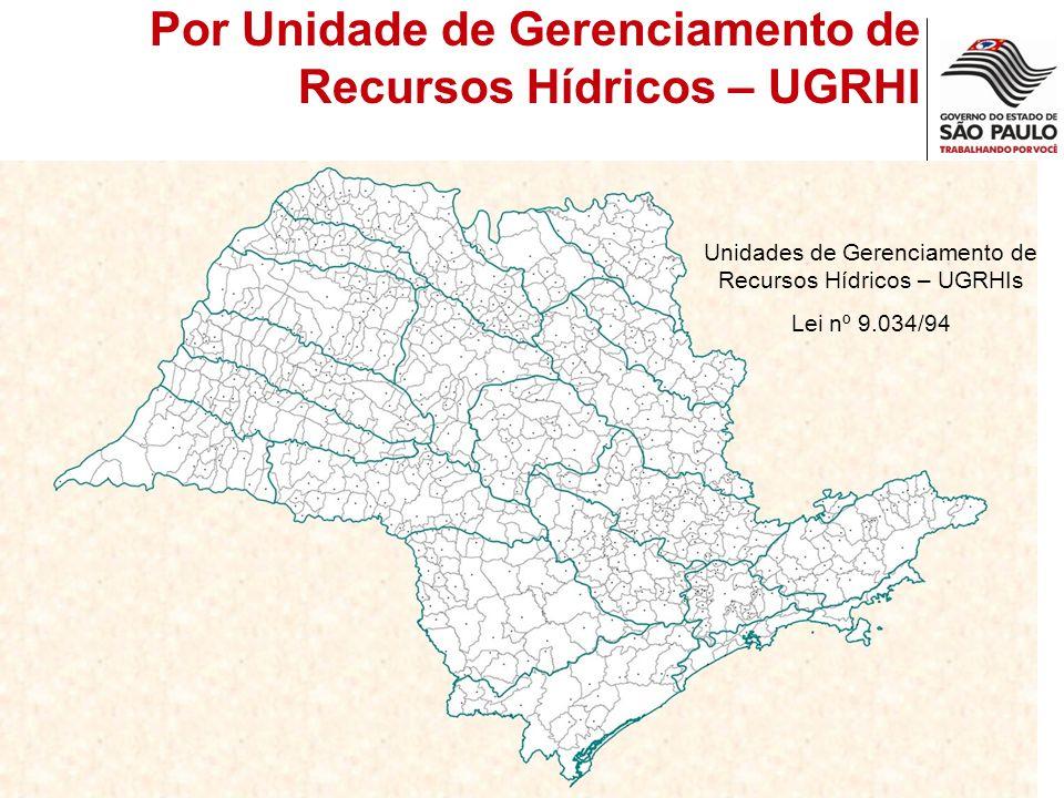 Unidades de Gerenciamento de Recursos Hídricos – UGRHIs Lei nº 9.034/94 Por Unidade de Gerenciamento de Recursos Hídricos – UGRHI