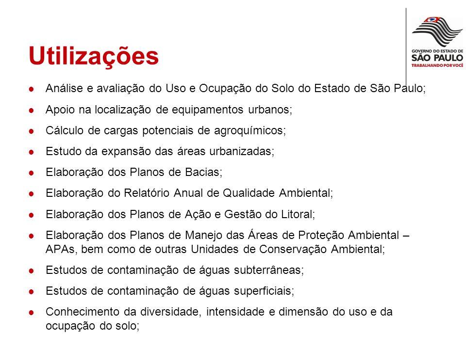 Utilizações Análise e avaliação do Uso e Ocupação do Solo do Estado de São Paulo; Apoio na localização de equipamentos urbanos; Cálculo de cargas pote