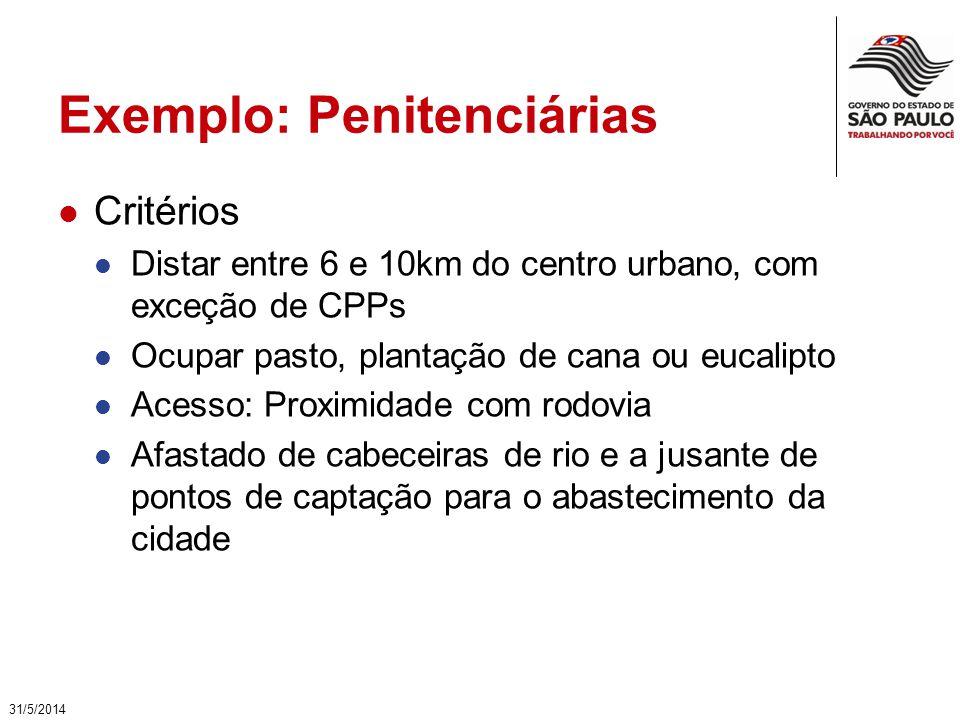 Exemplo: Penitenciárias Critérios Distar entre 6 e 10km do centro urbano, com exceção de CPPs Ocupar pasto, plantação de cana ou eucalipto Acesso: Pro