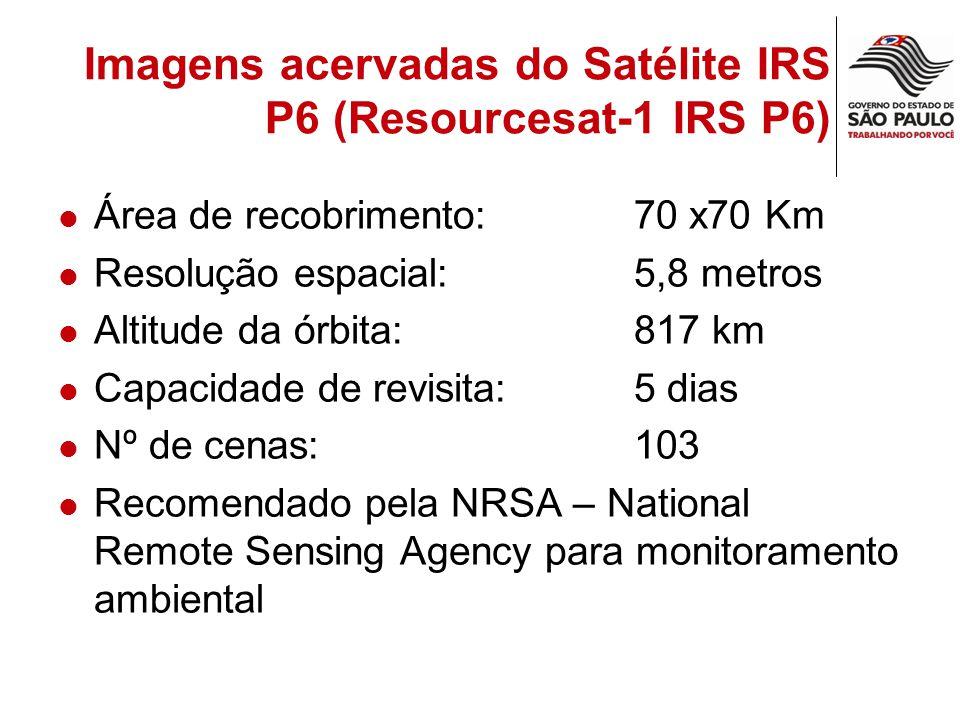 Imagens acervadas do Satélite IRS P6 (Resourcesat-1 IRS P6) Área de recobrimento: 70 x70 Km Resolução espacial:5,8 metros Altitude da órbita:817 km Ca