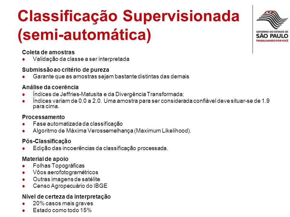 Classificação Supervisionada (semi-automática) Coleta de amostras Validação da classe a ser interpretada Submissão ao critério de pureza Garante que a