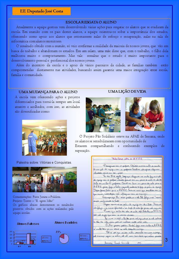 3 ESCOLA RESGATA O ALUNO Atualmente a equipe gestora vem desenvolvendo várias ações para resgatar os alunos que se evadiram da escola.