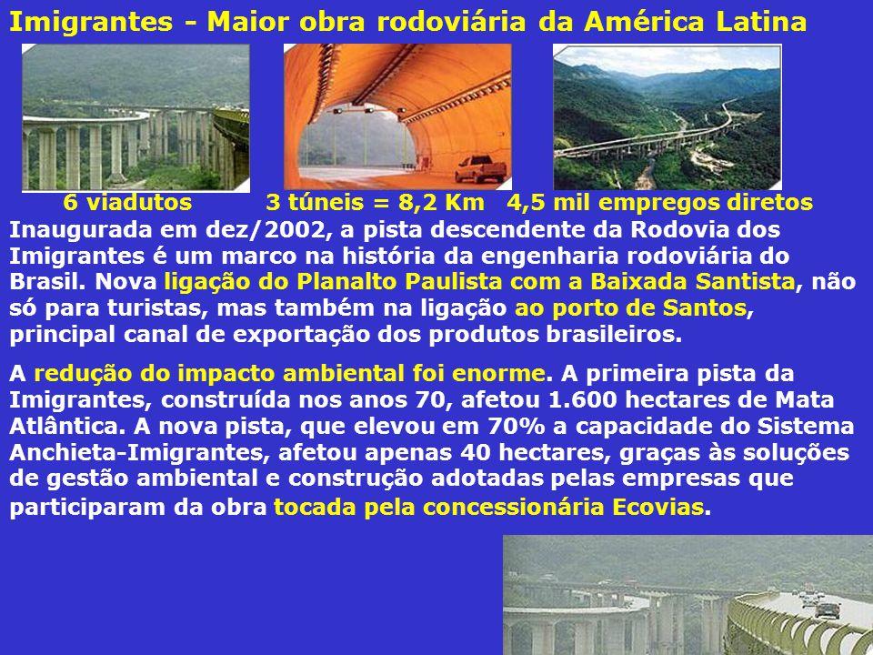 Inaugurada em dez/2002, a pista descendente da Rodovia dos Imigrantes é um marco na história da engenharia rodoviária do Brasil.