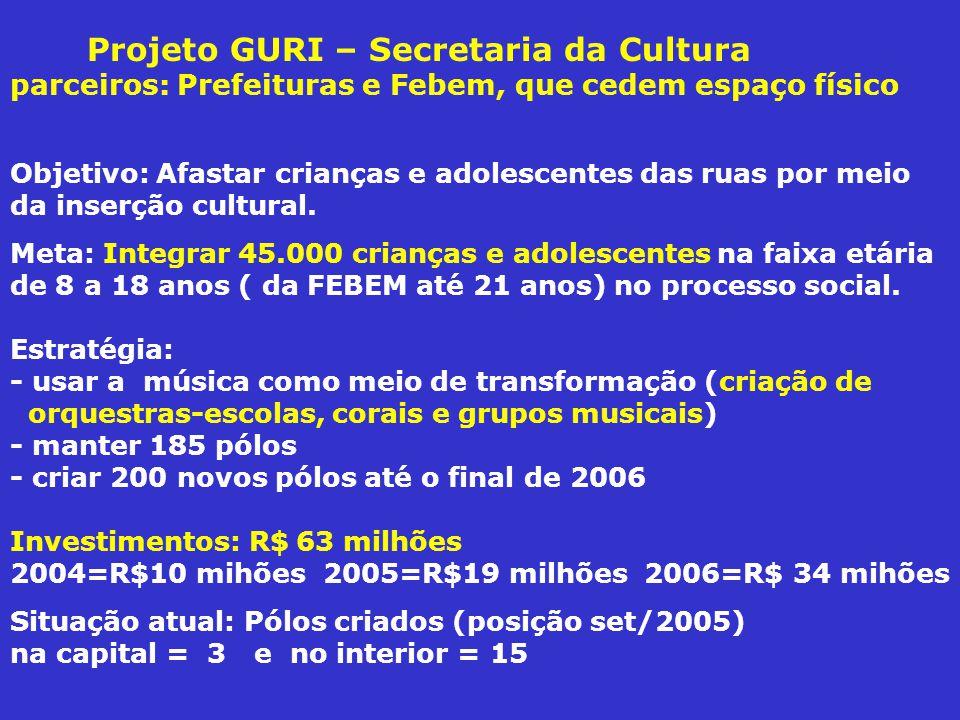 Projeto GURI – Secretaria da Cultura parceiros: Prefeituras e Febem, que cedem espaço físico Objetivo: Afastar crianças e adolescentes das ruas por meio da inserção cultural.