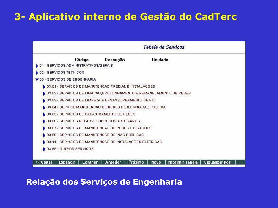 3- Aplicativo interno de Gestão do CadTerc Relação dos Serviços de Engenharia