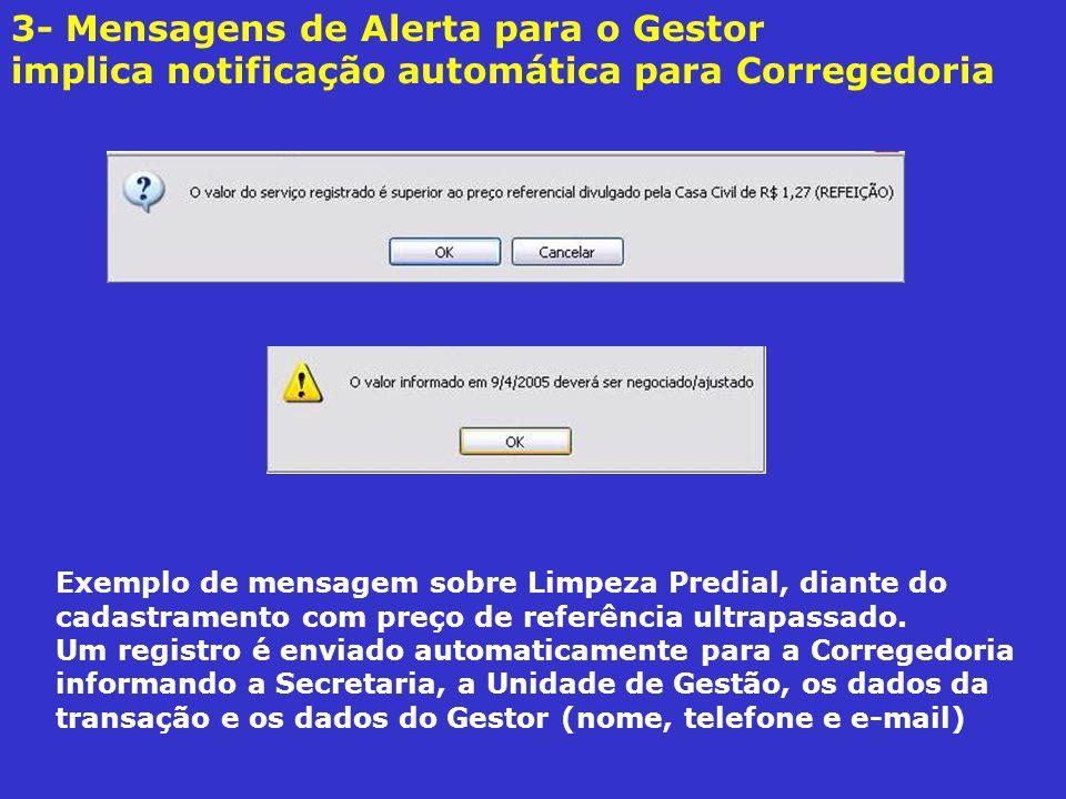 3- Mensagens de Alerta para o Gestor implica notificação automática para Corregedoria Exemplo de mensagem sobre Limpeza Predial, diante do cadastramento com preço de referência ultrapassado.