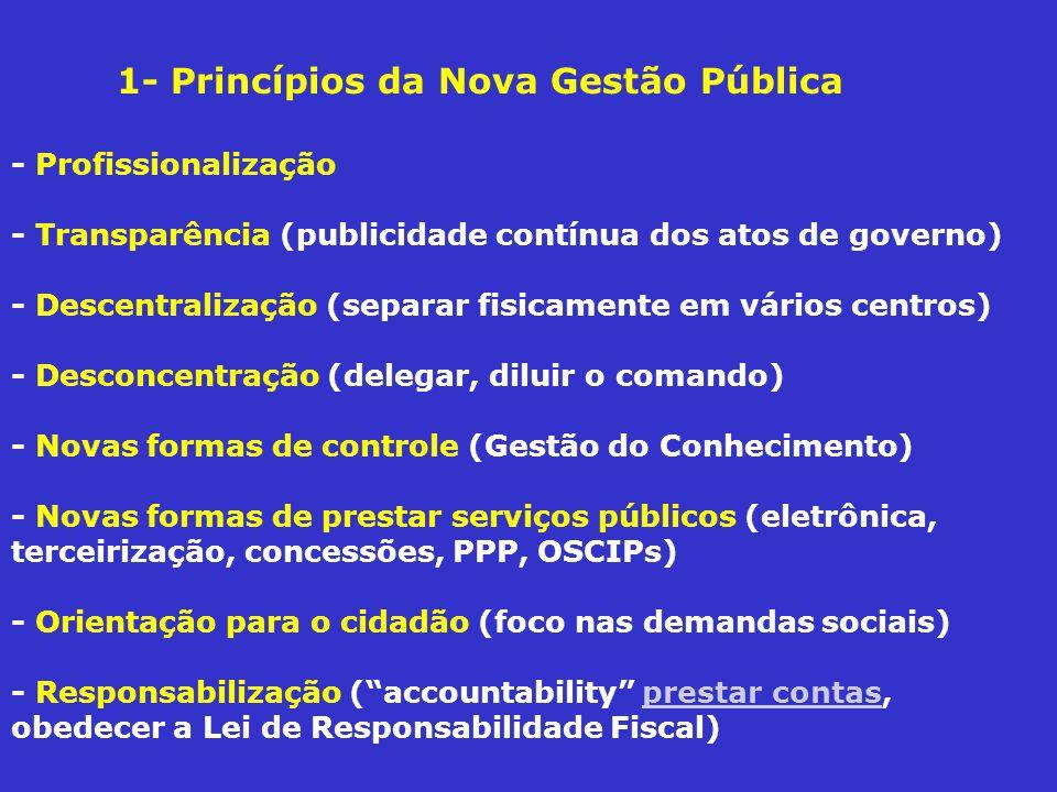 1- Princípios da Nova Gestão Pública - Profissionalização - Transparência (publicidade contínua dos atos de governo) - Descentralização (separar fisicamente em vários centros) - Desconcentração (delegar, diluir o comando) - Novas formas de controle (Gestão do Conhecimento) - Novas formas de prestar serviços públicos (eletrônica, terceirização, concessões, PPP, OSCIPs) - Orientação para o cidadão (foco nas demandas sociais) - Responsabilização (accountability prestar contas, obedecer a Lei de Responsabilidade Fiscal)prestar contas