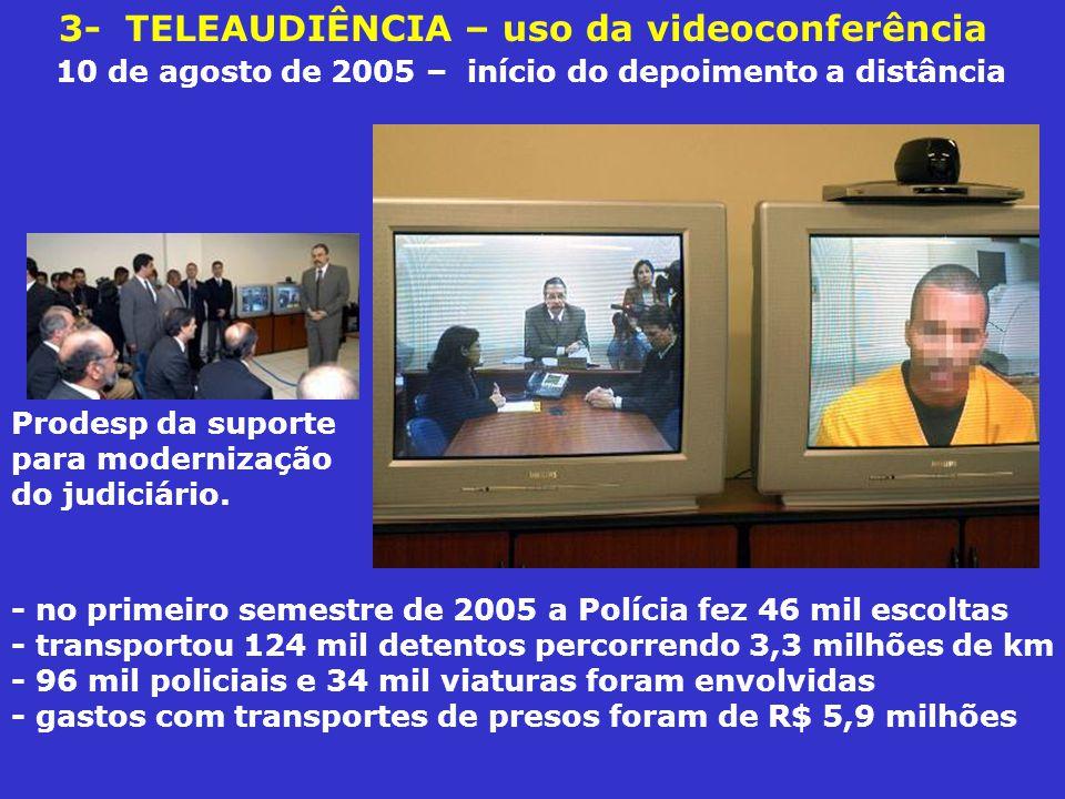 3- TELEAUDIÊNCIA – uso da videoconferência 10 de agosto de 2005 – início do depoimento a distância - no primeiro semestre de 2005 a Polícia fez 46 mil escoltas - transportou 124 mil detentos percorrendo 3,3 milhões de km - 96 mil policiais e 34 mil viaturas foram envolvidas - gastos com transportes de presos foram de R$ 5,9 milhões Prodesp da suporte para modernização do judiciário.