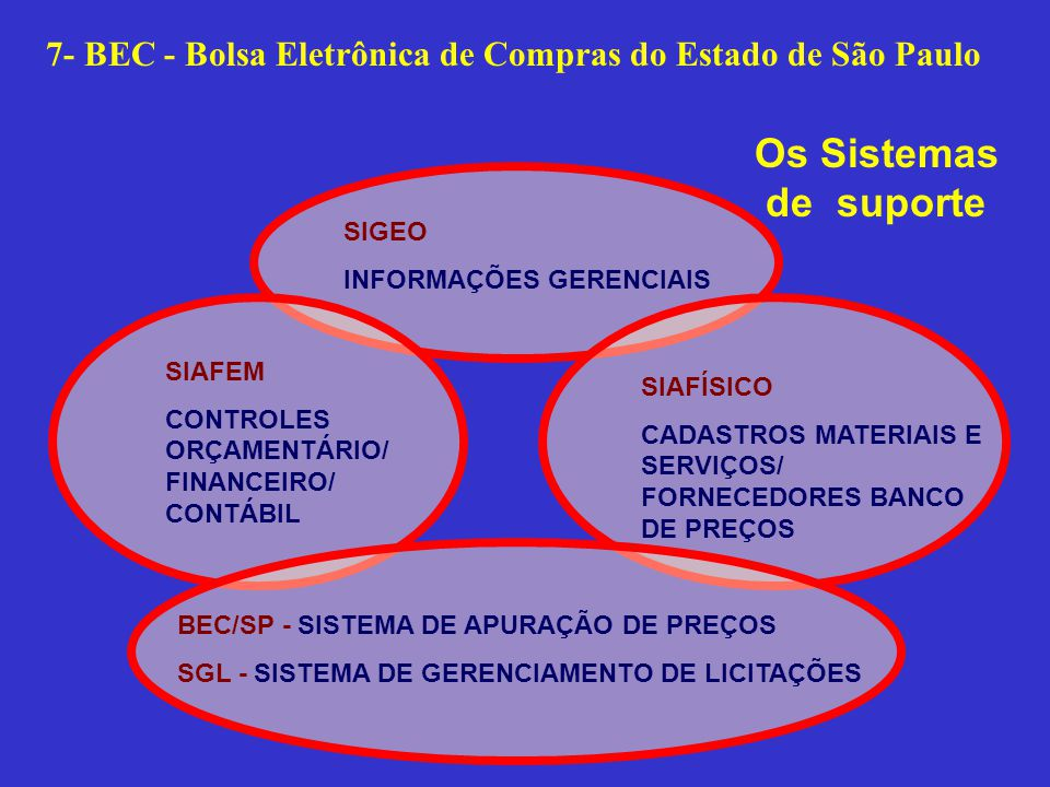 SIAFEM CONTROLES ORÇAMENTÁRIO/ FINANCEIRO/ CONTÁBIL SIAFÍSICO CADASTROS MATERIAIS E SERVIÇOS/ FORNECEDORES BANCO DE PREÇOS SIGEO INFORMAÇÕES GERENCIAIS BEC/SP - SISTEMA DE APURAÇÃO DE PREÇOS SGL - SISTEMA DE GERENCIAMENTO DE LICITAÇÕES Os Sistemas de suporte 7- BEC - Bolsa Eletrônica de Compras do Estado de São Paulo
