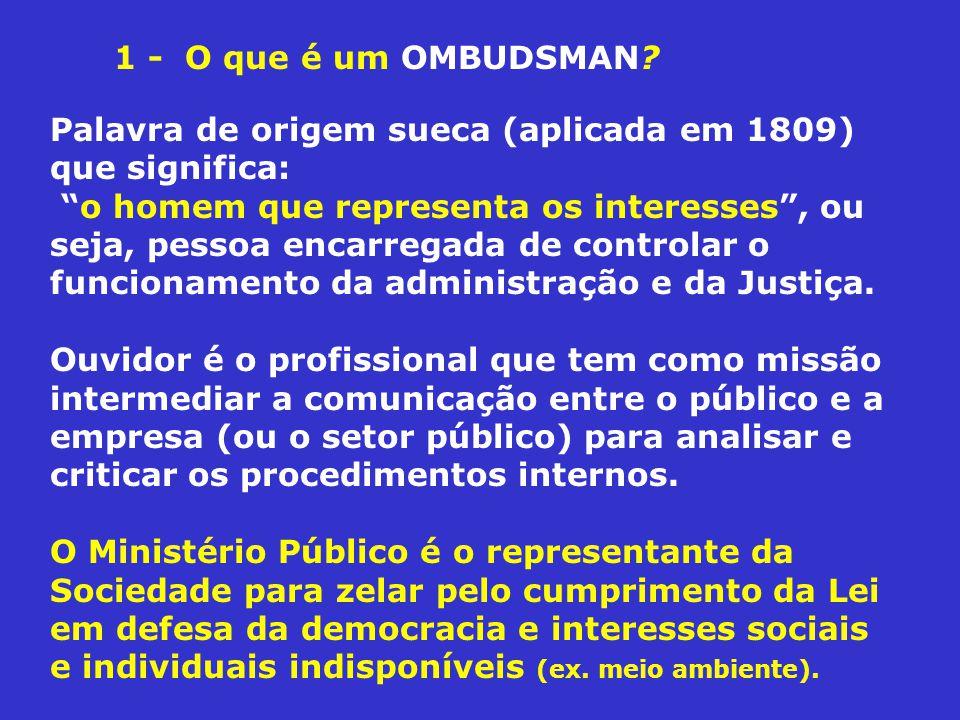 Palavra de origem sueca (aplicada em 1809) que significa: o homem que representa os interesses, ou seja, pessoa encarregada de controlar o funcionamento da administração e da Justiça.