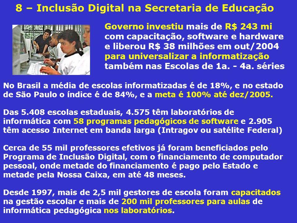 8 – Inclusão Digital na Secretaria de Educação No Brasil a média de escolas informatizadas é de 18%, e no estado de São Paulo o índice é de 84%, e a meta é 100% até dez/2005.
