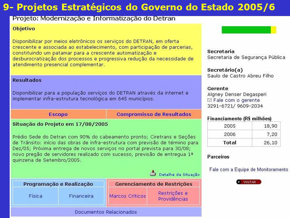 9- Projetos Estratégicos do Governo do Estado 2005/6