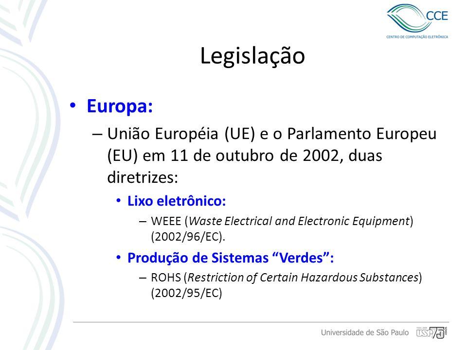 Legislação Europa: – União Européia (UE) e o Parlamento Europeu (EU) em 11 de outubro de 2002, duas diretrizes: Lixo eletrônico: – WEEE (Waste Electri