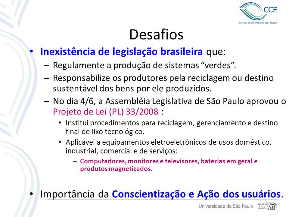 Desafios Inexistência de legislação brasileira que: – Regulamente a produção de sistemas verdes. – Responsabilize os produtores pela reciclagem ou des