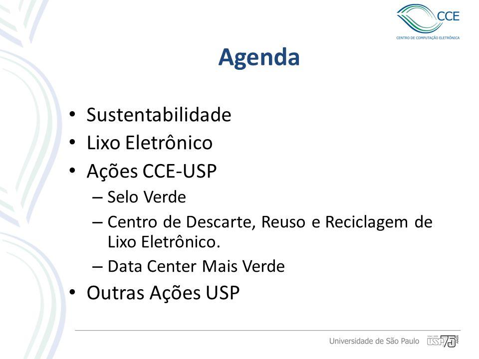 Agenda Sustentabilidade Lixo Eletrônico Ações CCE-USP – Selo Verde – Centro de Descarte, Reuso e Reciclagem de Lixo Eletrônico. – Data Center Mais Ver