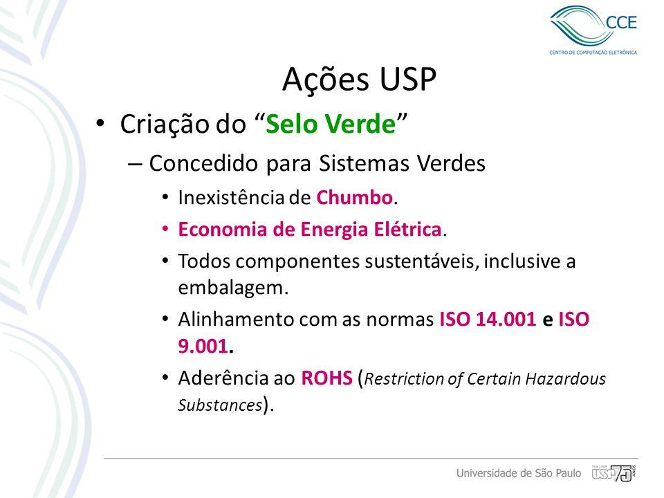 Ações USP Criação do Selo Verde – Concedido para Sistemas Verdes Inexistência de Chumbo. Economia de Energia Elétrica. Todos componentes sustentáveis,