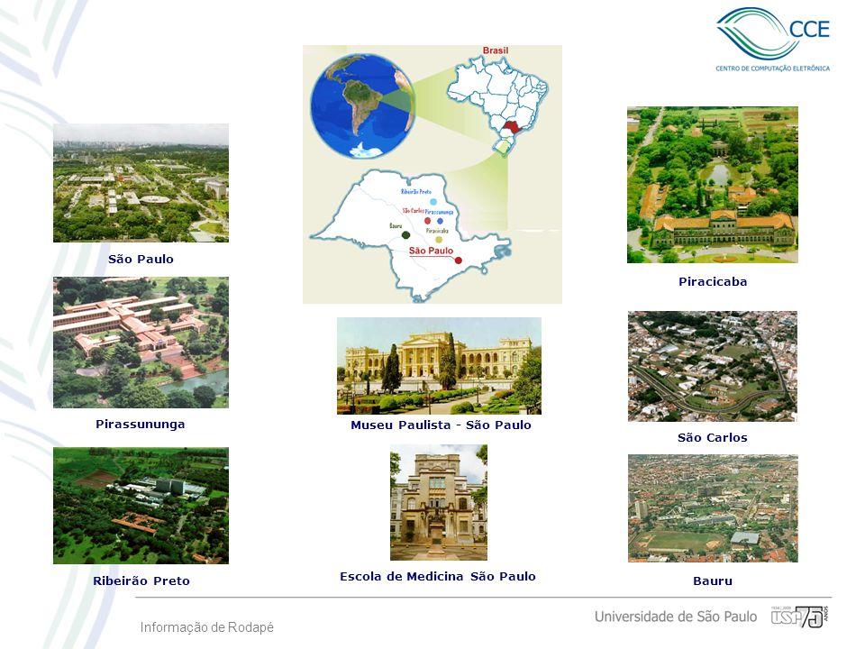 Informação de Rodapé Bauru Piracicaba São Carlos Escola de Medicina São Paulo Museu Paulista - São Paulo Ribeirão Preto São Paulo Pirassununga