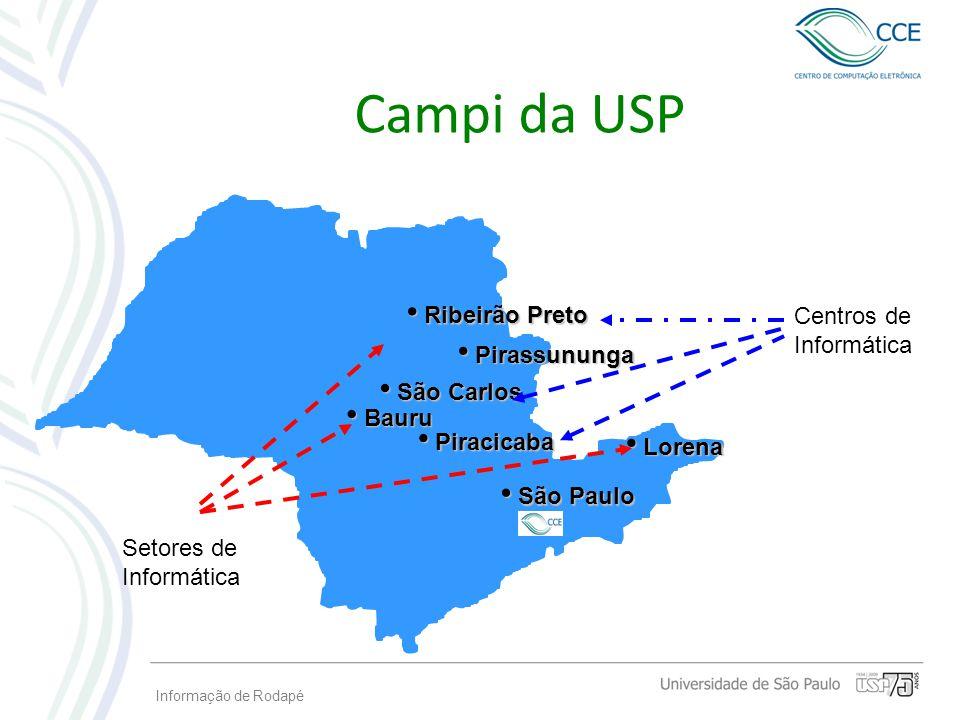 Informação de Rodapé Campi da USP São Paulo São Paulo Piracicaba Piracicaba São Carlos São Carlos Ribeirão Preto Ribeirão Preto Pirassununga Pirassunu