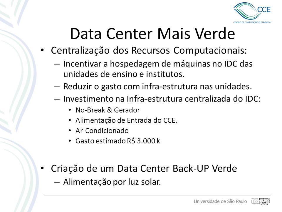 Data Center Mais Verde Centralização dos Recursos Computacionais: – Incentivar a hospedagem de máquinas no IDC das unidades de ensino e institutos. –