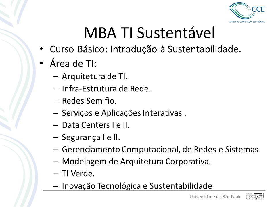 MBA TI Sustentável Curso Básico: Introdução à Sustentabilidade. Área de TI: – Arquitetura de TI. – Infra-Estrutura de Rede. – Redes Sem fio. – Serviço