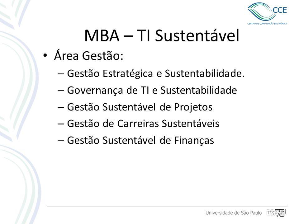 MBA – TI Sustentável Área Gestão: – Gestão Estratégica e Sustentabilidade. – Governança de TI e Sustentabilidade – Gestão Sustentável de Projetos – Ge