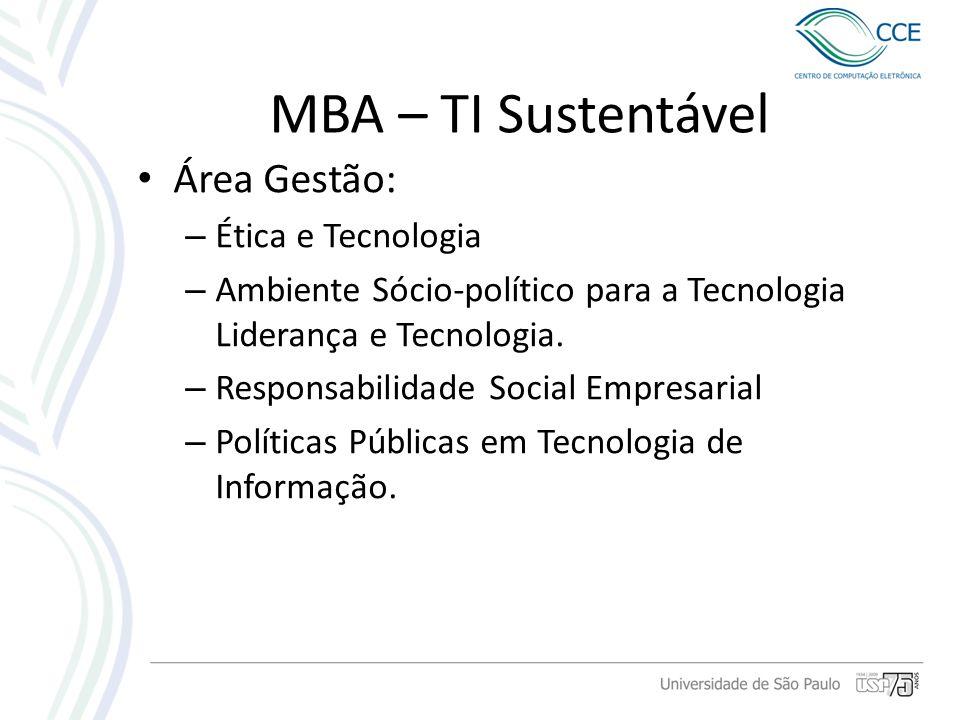 MBA – TI Sustentável Área Gestão: – Ética e Tecnologia – Ambiente Sócio-político para a Tecnologia Liderança e Tecnologia. – Responsabilidade Social E
