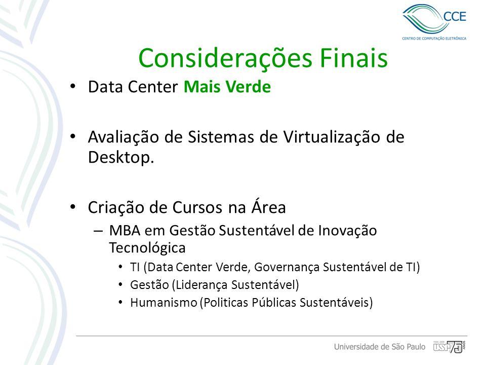 Considerações Finais Data Center Mais Verde Avaliação de Sistemas de Virtualização de Desktop. Criação de Cursos na Área – MBA em Gestão Sustentável d