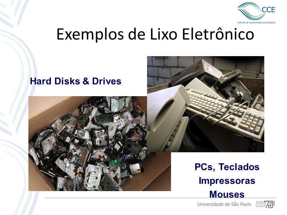 PCs, Teclados Impressoras Mouses Hard Disks & Drives Exemplos de Lixo Eletrônico