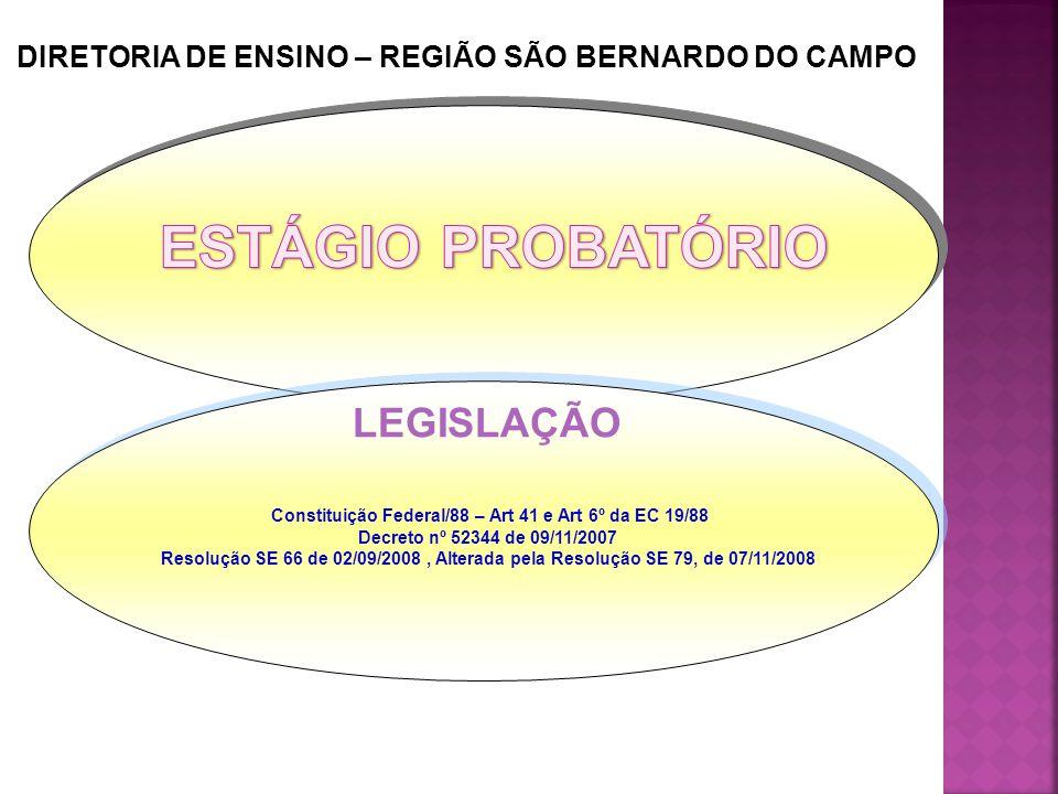Constituição Federal/88 – Art 41 e Art 6º da EC 19/88 Decreto nº 52344 de 09/11/2007 Resolução SE 66 de 02/09/2008, Alterada pela Resolução SE 79, de